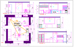 Kitchen plan with dimension detail dwg file