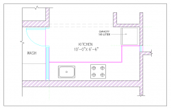 Kitchen room  design plan view detail dwg file