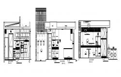 Kitchen section, plan and cad drawing details dwg file