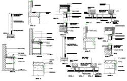 Kitchen section, wall construction and structure details dwg file