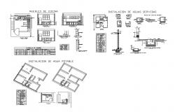 Kitchen section, plan and construction details of house dwg file