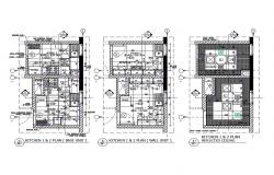 Kitchen section and plan details with wall unit and reflected ceiling dwg file