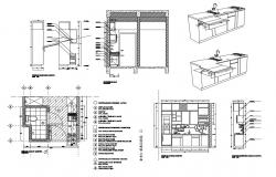 Kitchen section and plan with isometric view and furniture and attach toilet cad drawing details dwg file