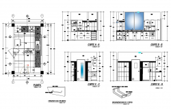 Kitchen structure detail plan and section CAD construction 2d view layout file