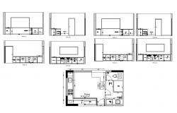 Kitchen structure plan 2d view CAD constructive block layout dwg file