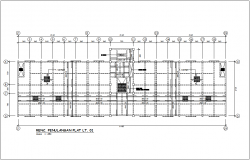 LT reinforcement plan with construction view for government building dwg file