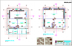 Laboratory first and second floor plan with detail view dwg file
