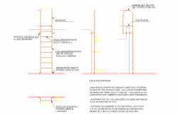 Ladder elevations and sectional detail