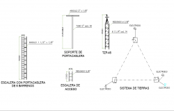 Ladder with 6-hole cable holder plan autocad file