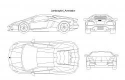 Lamborghini aventador car plan detail dwg.