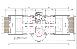 Lamp point view in plan with view of different types of lamp point position for corporate building dwg file