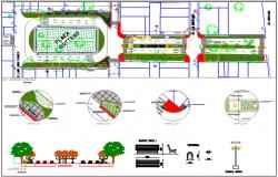 Land sceping garden area detail dwg file