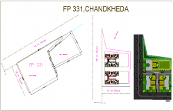 Landscape view and plan view with area map view for residence of chandkheda dwg file