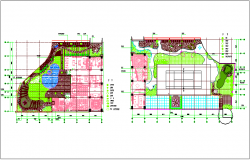 Landscape view of club house dwg file