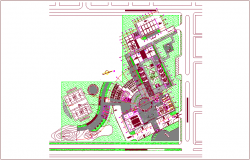 Landscape view of collage building dwg file