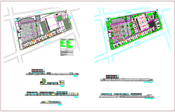 Landscape view of collage plan,elevation and section view dwg file