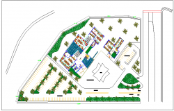 Landscape view of commercial area detail view dwg file