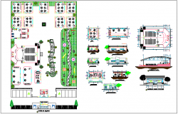 Landscape view of education center with sectional view dwg file