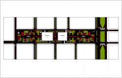 Landscape view of financial center with tower view dwg file