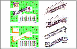 Landscape view of hospital with plan view dwg file
