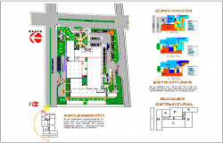 Landscape view of hospital with structural view dwg file