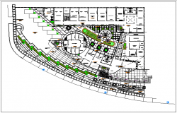 Landscape view of municipal building dwg file