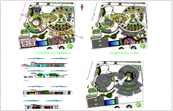 Landscape view of school with elevation and sectional view dwg file