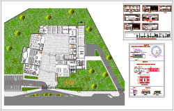 Landscape view of school, section & elevation view dwg file