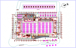 Landscape view of zonal market with numbering view of market zone dwg file