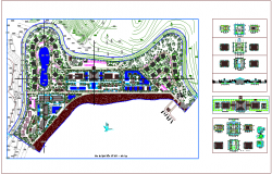 Landscape view plan of resort and hotel with view of section and construction detail dwg file