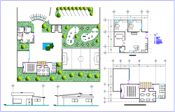 Landscape view with detail view and elevation of social center dwg file