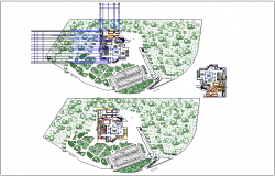 Landscape view with plan view of clinic with dimension dwg file