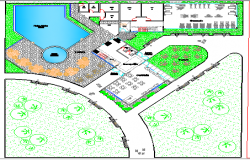 Landscaping View of Multi-Flooring Club House dwg file