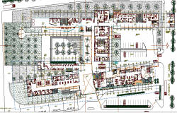 Landscaping and Structure Details of Multi-Flooring Hospital dwg file