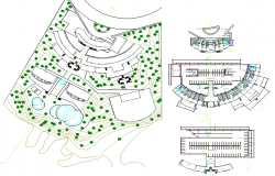Landscaping and floor plan details of shopping center dwg file