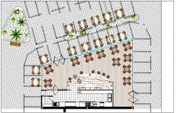 Landscaping and layout plan details of multi-story shopping mall dwg file