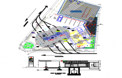Landscaping and site plan details of gas station dwg file