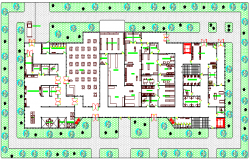 Landscaping and site plan of General service hospital dwg file
