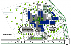 Landscaping and site plan of corporate office building dwg file