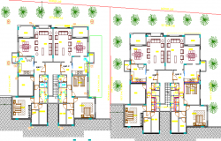 Landscaping and structure details of multi-family house project dwg file