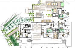 Landscaping and structure details of multi-family housing apartment flats dwg file