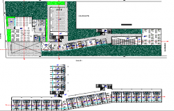Landscaping and structure details of multi-flooring college dwg file