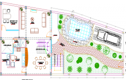 Landscaping and structure details of single family bungalows dwg file