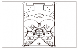 Landscaping and structure details of theme park dwg file