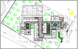 Landscaping commercial building plan detail dwg file