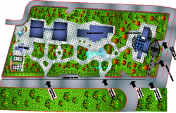 Landscaping details of bank office building dwg file