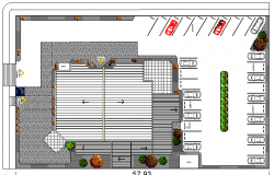 Landscaping details of bank office dwg file