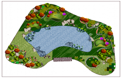 Landscaping details of city public garden dwg file