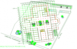 Landscaping details of city shopping complex dwg file
