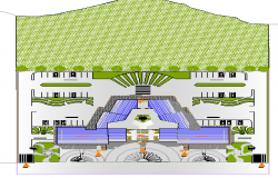 Landscaping details of community service center dwg file